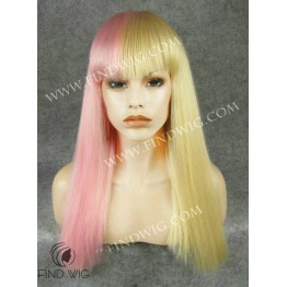 Drag Queen Wig. Straight Long Wig in Pink / Blond
