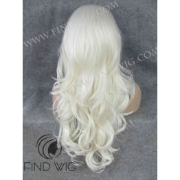 Lace Front Wig. Wavy Platinum Blonde Long Wig
