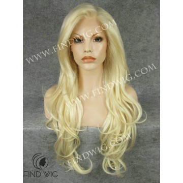 Kanekalon Lace Front Wig. Wavy Long Blonde Wig