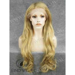 Kanekalon Wavy Long Gold Blonde Lace Front Wig