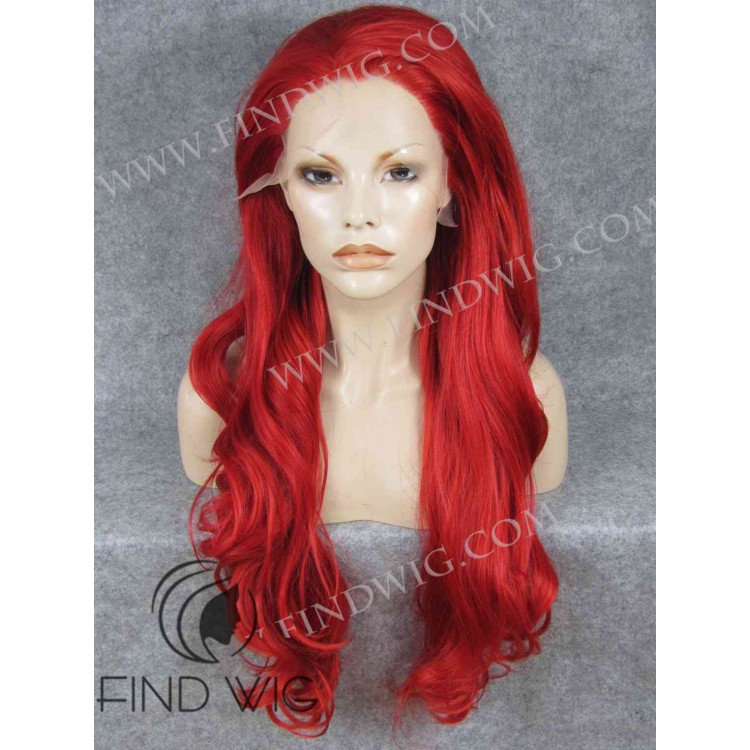 wavy bright red long wig halloween wigs - Red Wigs For Halloween