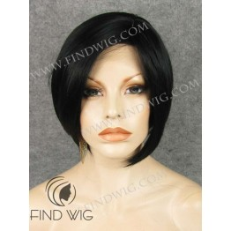 Lace Front Wig. Straight Black Short Hair