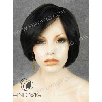 Lace Front & Skin Top Wig. Straight Dark Brown Short Wig