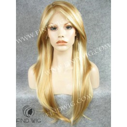 Skin Top Wig. Straight Highlighted Blonde Long Lace Front Wig