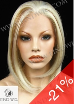 Lace Front Wig. Straight Blond Medium Long Wig. New Style Wig