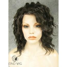 Lace Front Wig. Wavy Short Dark Brown Wig