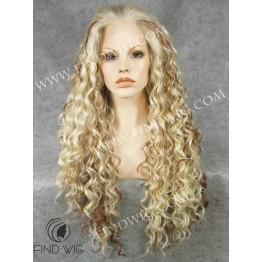 Drag Wig. Curly Blonde Highlighted Long Wig