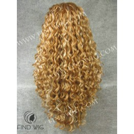 Curly Long Highlighted Straw Blonde Wig