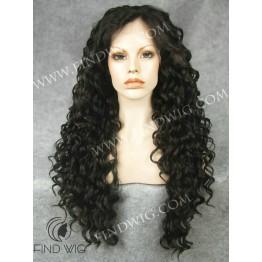 Curly Dark Brown Long Wig. Lace Front Kanekalon Wig