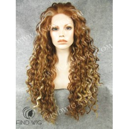 Kanekalon Wig. Curly Light Chestnut Highlighted Long Wig
