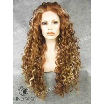 Kanekalon Wig. Curly Light Chestnut Highlighted Long Wig