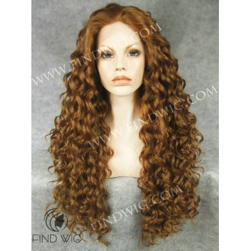 Drag Wig. Curly Chestnut Highlighted Long Wig