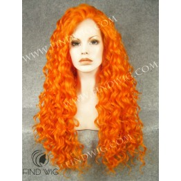 Drag Queen Wig. Curly Orange Long Wig