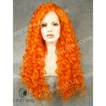 Stage Drag Queen Wig. Curly Orange Long Wig