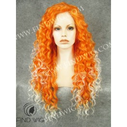 Drag Lace Wig. Curly Orange Long Wig