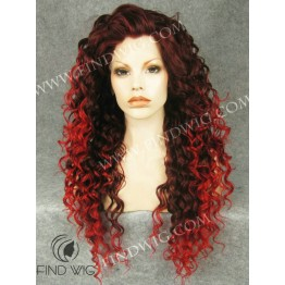 Stage Drag Queen Wig. Curly Red Long Wig