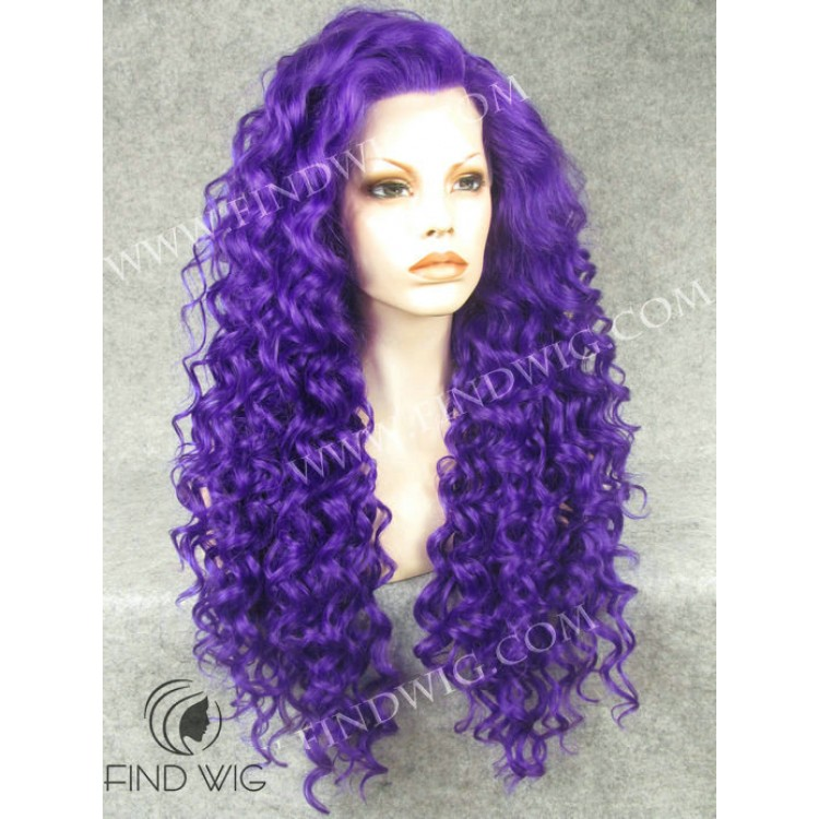 Drag Queen Wig. Curly Purple Long Wig. Halloween   Party Wigs Online a9877603d729