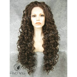 Lace Wig. Curly Dark Chestnut Long Wig