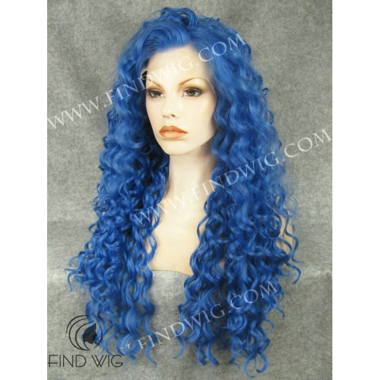 Drag Queen Wig Curly Blue Long Wig Online Wig Store
