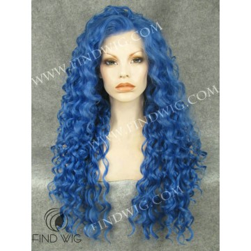 Drag Queen Wig. Curly Blue Long Wig. Online Wig Store