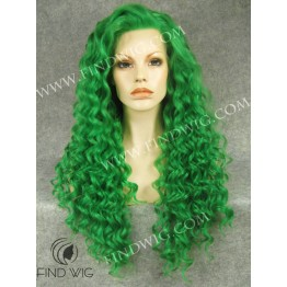 Curly Green Long Wig. Drag Wig For Show And Performance