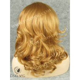 Lace Front Wig. Wavy Gold Blonde Medium Long Wig