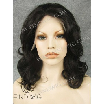Lace Front Wig. Wavy Dark Brown Medium-Long Hair