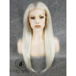 Lace Front Wig. Straight Platinum Blonde Long Wig