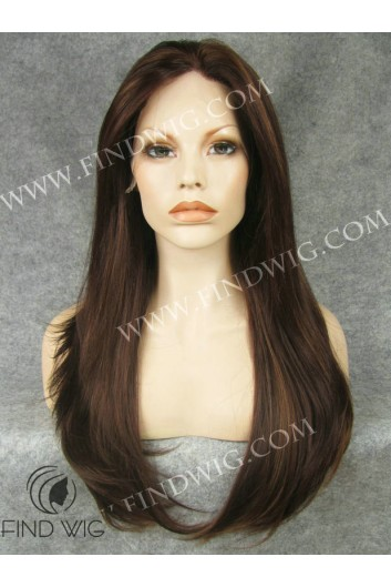 Lace Front Wig Straight Chestnut Long Hair