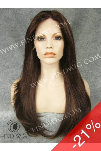 Lace Front Wig. Straight Chestnut Long Wig. New Style Wig
