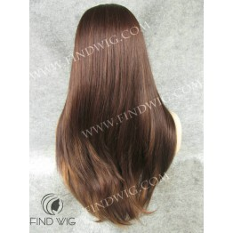 Lace Front Wig. Straight Chestnut Highlighted Red Long Wig