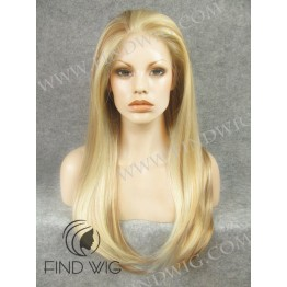 Lace Front Wig. Straight Highlighted Blonde Long Wig