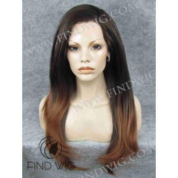 Lace Front Wig. Straight Chestnut Long Wig with Dark Roots