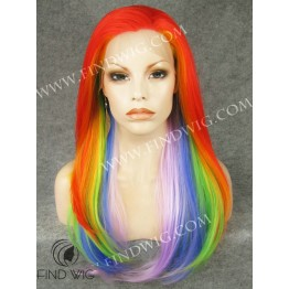 Drag Wig Straight Long Rainbow Color Wig. Online Wig Store