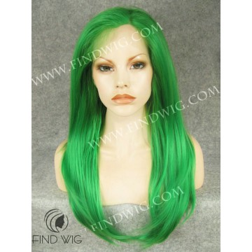 Stage and Drag Show Wig. Straight Green Long Wig