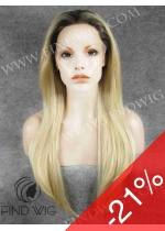 Lace Front Wig. Straight Blonde Long Wig With Dark Roots. New Style Wig
