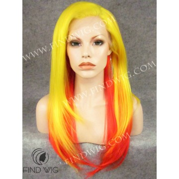 Drag Queen Wig Straight Long Hair, Sunrise Color. Buy Wig Online
