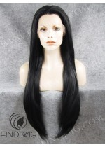 Lace Front Wig Straight Black Super-Long Wig. New Style Wig