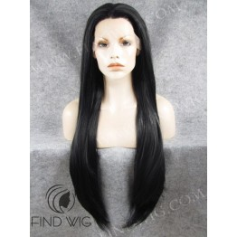 Lace Front Wig. Straight Black Extra Long Wig