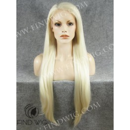 Lace Front Wig. Straight Blonde Super Long Wig
