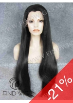 Lace Front Wig Straight Black Super-Long Wig. On Line Wig Store