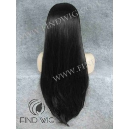 Lace Front Wig. Straight Black (Deep Brown) Extra Long Wig
