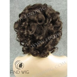 Lace Front Wig. Curly Short Dark Brown Wig