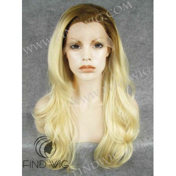 Lace Front WIg. Wavy Blonde Long Wig With Dark Roots