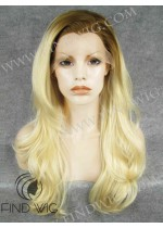 Lace Front Wig With Dark Roots. Wavy Blonde Long Wig. Buy Wigs On Line