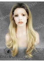 Lace Front Wig Wavy Blonde Long Wig With Dark Roots. New Style Wig