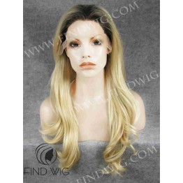Wavy Blonde Long Wig With Dark Roots