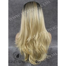 Lace Front Wig. Straight Blonde Long Wig With Dark Roots
