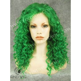 Drag Wig. Curly Green Medium Long Wig