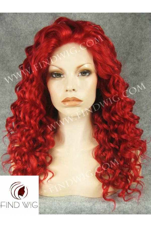 Red Curly Wig. Bright Red Wig. Wigs for Show. Drag Lace Wig. Wigs in